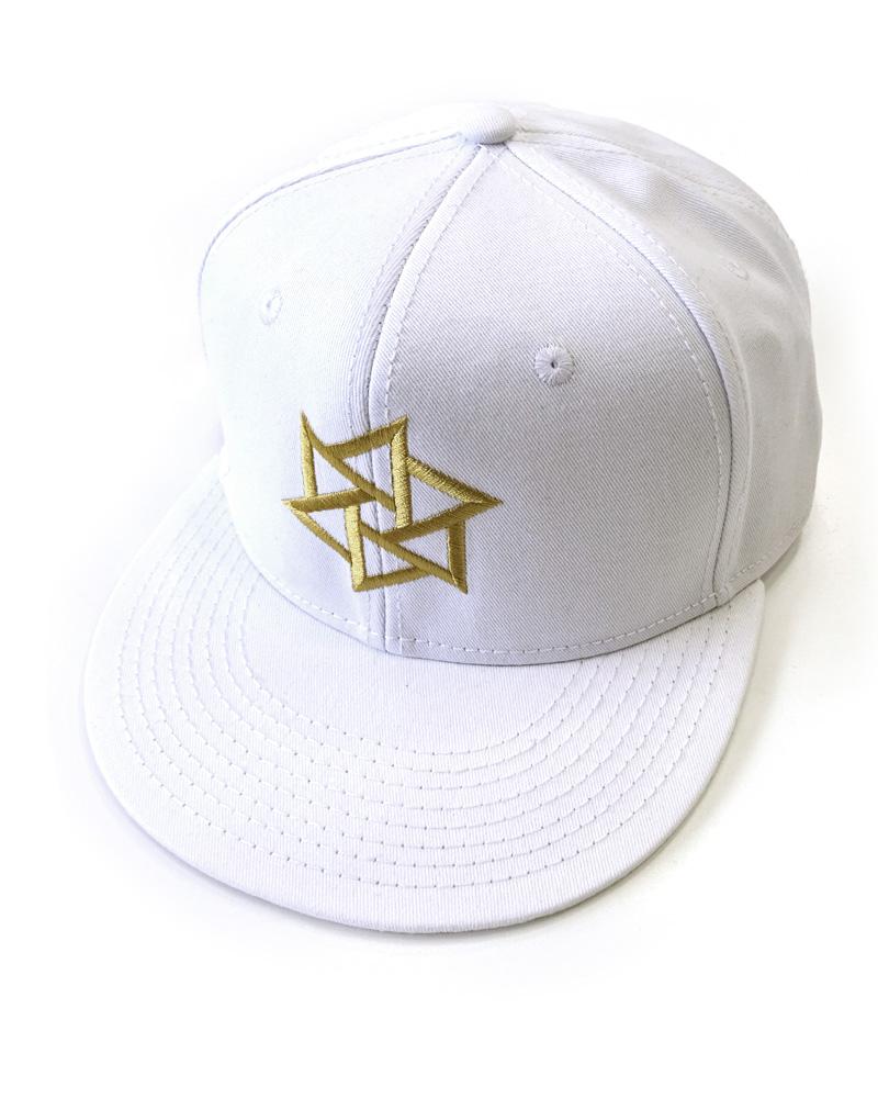 帽子1号「鱗廻」白(金刺繍)