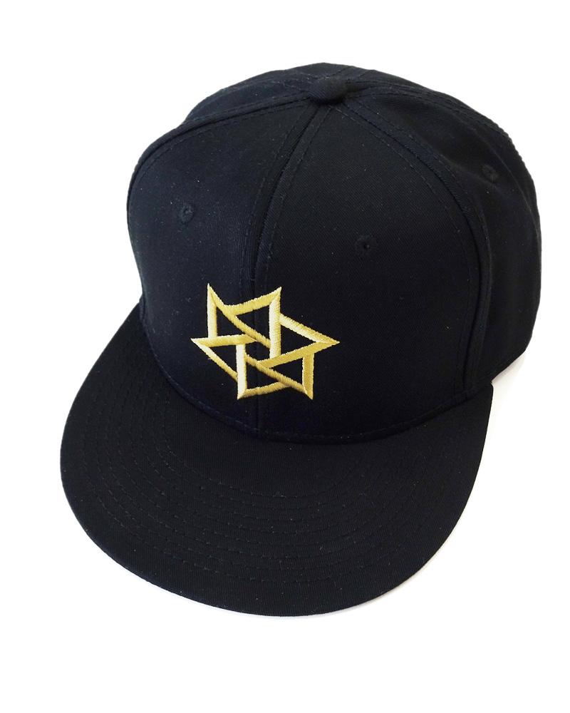 帽子1号「鱗廻」黒(金刺繍)